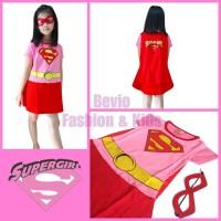 Kostum Karakter Anak Supergirl Pink Merah Dress Baju Superhero