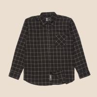 Kemeja Flanel Lengan Panjang Monochrome LS Black Grid Shirt