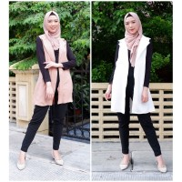 Chamele - Doubled snap button long vest cardigan outer wanita 2178