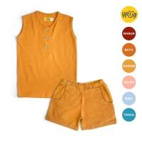 KAOS ANAK LENGAN BUNTUNG setelan baju rumah OZY KUNING BUSUK 1-10 th