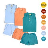 KAOS ANAK LENGAN BUNTUNG setelan baju rumah OZY warna polos 1-10th