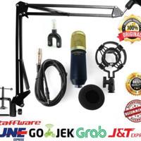 Paket Mic BM 800 arm stand mic boom scissor with splitter