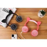 HGM-003 Cat Ear Headphones Headset Bando Model Telinga Kucing Glitter