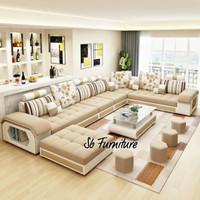 Sofa Minimalis Letter U warna Beige Bonus Bantal Dakron Kursi Tamu
