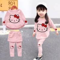 Baju Setelan Anak Perempuan Set Rok Celana Hello Kitty Kids 3-5 tahun