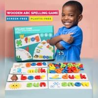 Mainan edukasi anak wooden abc spelling game set belajar membaca