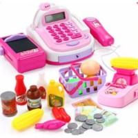 Mainan kasir anak 47SET mainan supermarket - Merah Muda