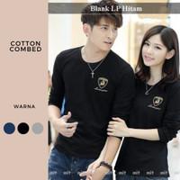 baju couple panjang termurah-kaos sepasang polos-lp blank hitam couple