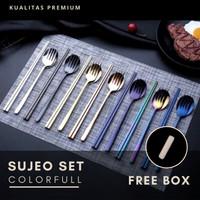 Sendok Garpu Sumpit Korea 4in1 Set - Alat Makan Sujeo Set - BICCA