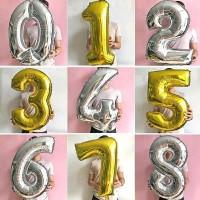 Balon Foil Angka 80cm Gold/Silver/Balon Angka Besar/Balon Angka 30inch