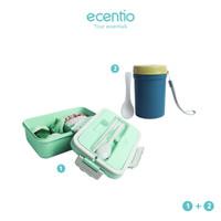 ecentio Kotak makan siang portabel + tas makan siang + panci sup set - Hijau, 1dan2