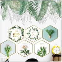 Wall sticker dinding/wallpaper tropical/dekorasi dinding hexagonal