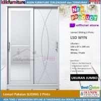 Lemari Pakaian Sliding Putih 2 Pintu Cermin LSD WYN Olympic