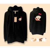 Jaket Hoodie Zipper Premium desain Chibi Maruko Chan