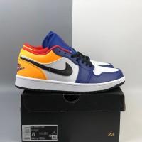 Sepatu Nike Air Jordan 1 Low Royal Blue Orange Unisex (36 s/d 45)