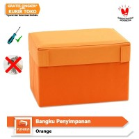 FUNIKA 10061R1 OR - Bangku Persegi Penyimpanan Serbaguna - Orange