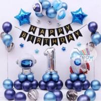 Paket Dekorasi Balon Ulang Tahun Tema Luar Angkasa Roket Astronot 03