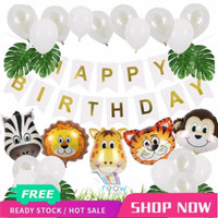 Paket Dekorasi Hiasan Balon Ulang Tahun / Happy Birthday Animal Zoo 01