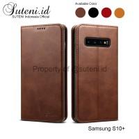 SUTENI Leather Flip Cover Samsung S10 S10E S10+ S10plus Plus Casing - Merah, S10