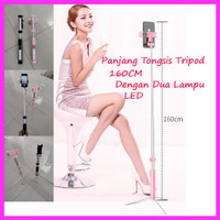 Tongsis Bluetooth With Dual LED dan Remote Tongsis Tripod 2 in 1 - 160CM PINK