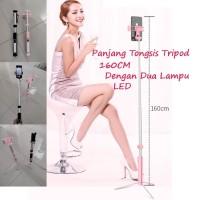 Tongsis Bluetooth Dengan LED dan Remote Tongsis Tripod 160CM - Merah Muda