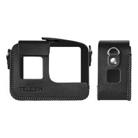 Leather Case With Frame Cover Protector TELESIN For GoPro Hero 8 7/6/5 - Hitam
