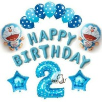 Paket Dekorasi Balon Ulang Tahun / Happy Birthday Tema Doraemon 03