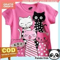 Panda Kids Baju/ Kaos Anak Perempuan Lengan Pendek Motif Group Cat