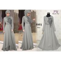 5954 Grey party dress muslimah baju muslim pesta wanita abu abu 5951