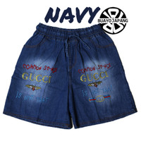 Celana Pendek Wanita Soft Jeans Premium - Navy non Rumbai, XL