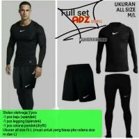 Stelan baju sepeda pria hitam Nike Adidas / stelan olahraga