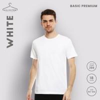 Kaos Polos KALOSTEE Premium Basic 28s 100% Cotton ( Putih / WHITE ) - Putih, XS