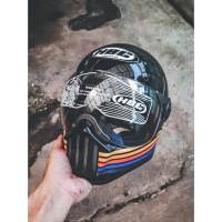 Helm Cakil Pilot HBC Hitam Glossy Stripe