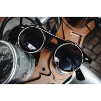 Kacamata Retro Steampunk Flip Up Bulat Motor Klasik