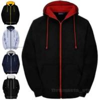 Bramasta - Jaket zipper jumbo jaket fleece big size Unisex - Hitam, S