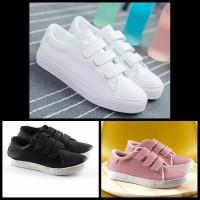 Sepatu Kets Sneakers Kasual Wanita Pria Perekat Sepatu Sekolah Velcro