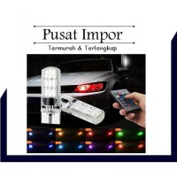 LAMPU LED MOBIL MOTOR T10 RGB JELLY SMD ISI 2PCS REMOTE RGB01