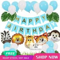 Paket Dekorasi Hiasan Balon Ulang Tahun / Happy Birthday Animal Zoo 01 - Hitam