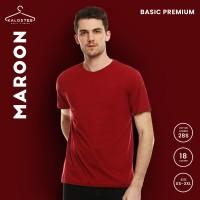 Kaos Polos KALOSTEE Premium Basic 28s 100% Cotton Maroon Size XS - XL