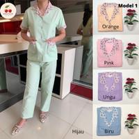 Baju seragam suster (cln pnjng)/ baju baby sitter/ nanny (motif bunga) - S, Hijau