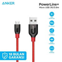 Kabel Charger Anker PowerLine+ Micro USB 3ft/0.9m Red - A8142