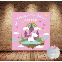 Custom Backdrop Banner Spanduk Happy Birthday Unicorn Kuda Pony