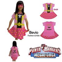 Kostum Anak Cewek Karakter Superhero Power Rangers Pink Dress Baju