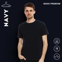 Kaos Polos KALOSTEE Premium Basic 28s 100% Cotton Navy Blue Size XS-XL