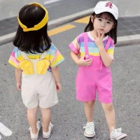 Setelan anak perempuan jumpsuit+kaos garis garis set anak import