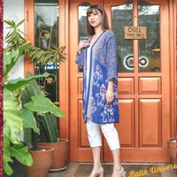 Batik Kimono Outer Cardigan. Batik Natal. Baju Natalan - Ginger Blue X