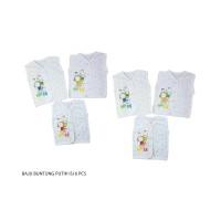 1 set 6 pcs Baju buntung bayi/kaos/oblong/pakaian 3-6bln YENORA - Putih