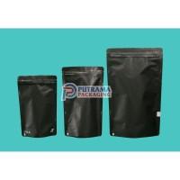 Stand Up Pouch Aluminium Foil Hitam 14x23 cm + Zipper