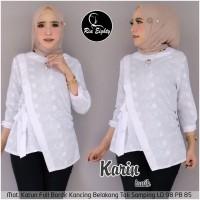 baju atasan wanita blouse putih real pict terbaru-karin