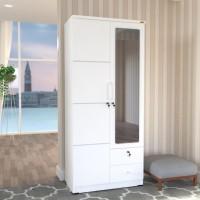 Lemari pakaian lemari baju 2 pintu cermin Romaro 2 laci putih